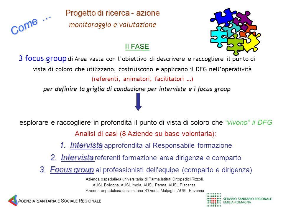Progetto di ricerca - azione monitoraggio e valutazione II FASE 3 focus group di Area vasta con lobiettivo di descrivere e raccogliere il punto di vis