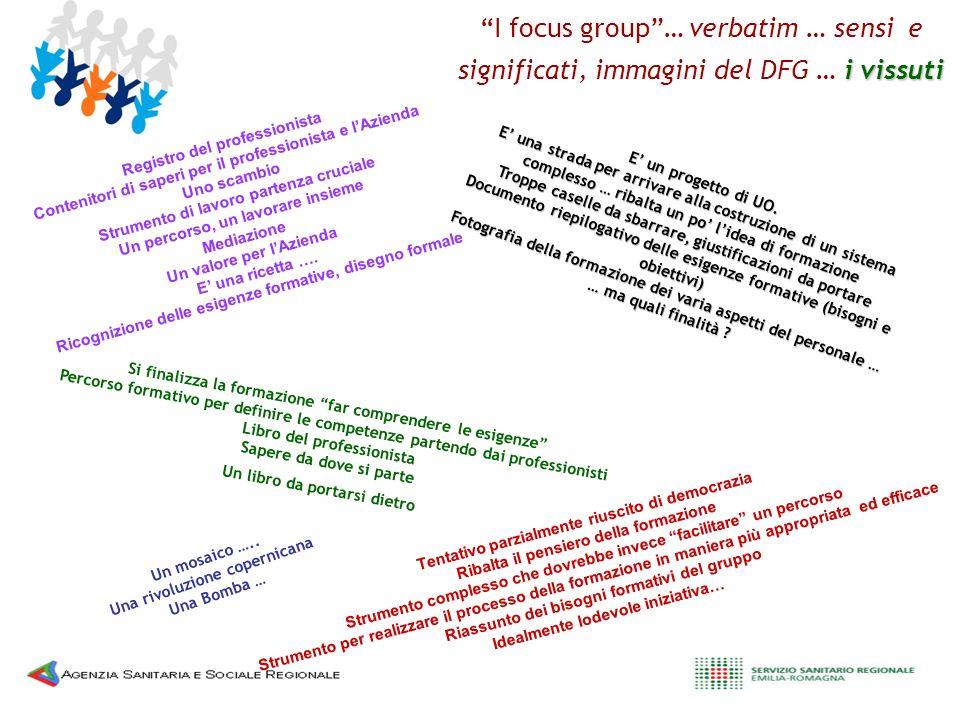 i vissuti I focus group… verbatim … sensi e significati, immagini del DFG … i vissuti E un progetto di UO. E una strada per arrivare alla costruzione