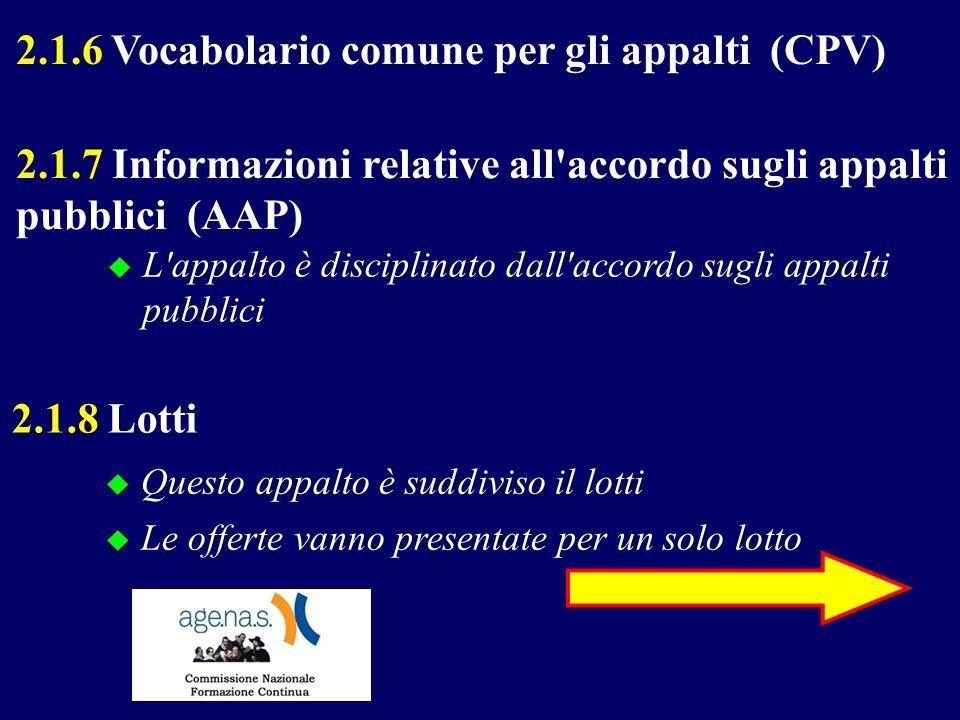2.1.6 Vocabolario comune per gli appalti (CPV) L'appalto è disciplinato dall'accordo sugli appalti pubblici 2.1.7 Informazioni relative all'accordo su
