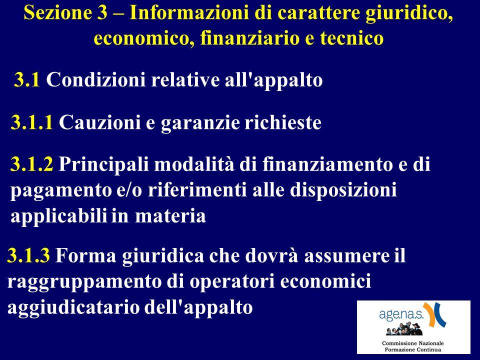 Sezione 3 – Informazioni di carattere giuridico, economico, finanziario e tecnico 3.1 Condizioni relative all'appalto 3.1.1 Cauzioni e garanzie richie