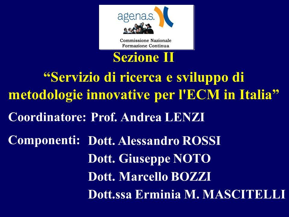 Sezione II Servizio di ricerca e sviluppo di metodologie innovative per l'ECM in Italia Dott. Alessandro ROSSI Dott. Giuseppe NOTO Dott. Marcello BOZZ