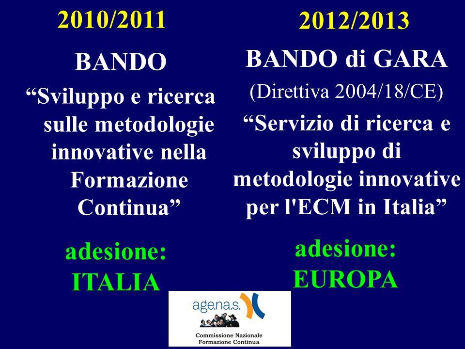 BANDO Sviluppo e ricerca sulle metodologie innovative nella Formazione Continua 2010/2011 2012/2013 BANDO di GARA (Direttiva 2004/18/CE) Servizio di ricerca e sviluppo di metodologie innovative per l ECM in Italia adesione: ITALIA adesione: EUROPA