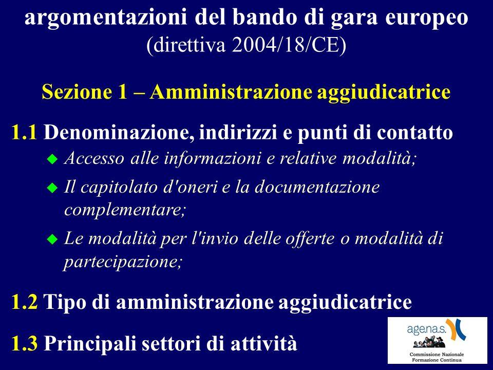 argomentazioni del bando di gara europeo (direttiva 2004/18/CE) 1.1 Denominazione, indirizzi e punti di contatto Sezione 1 – Amministrazione aggiudica