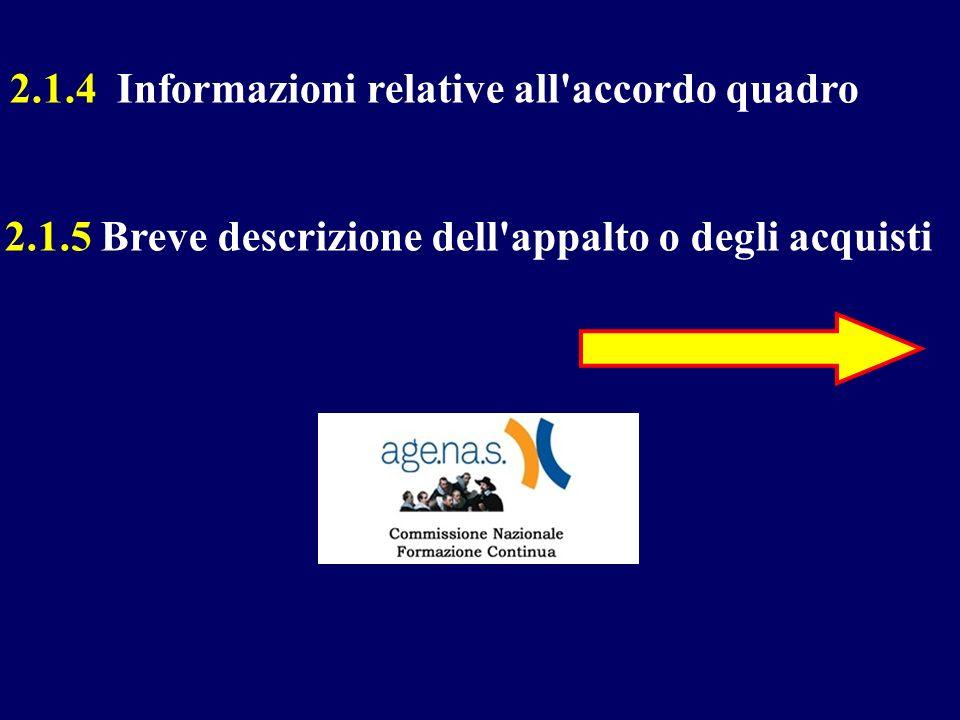 2.1.4 Informazioni relative all'accordo quadro 2.1.5 Breve descrizione dell'appalto o degli acquisti