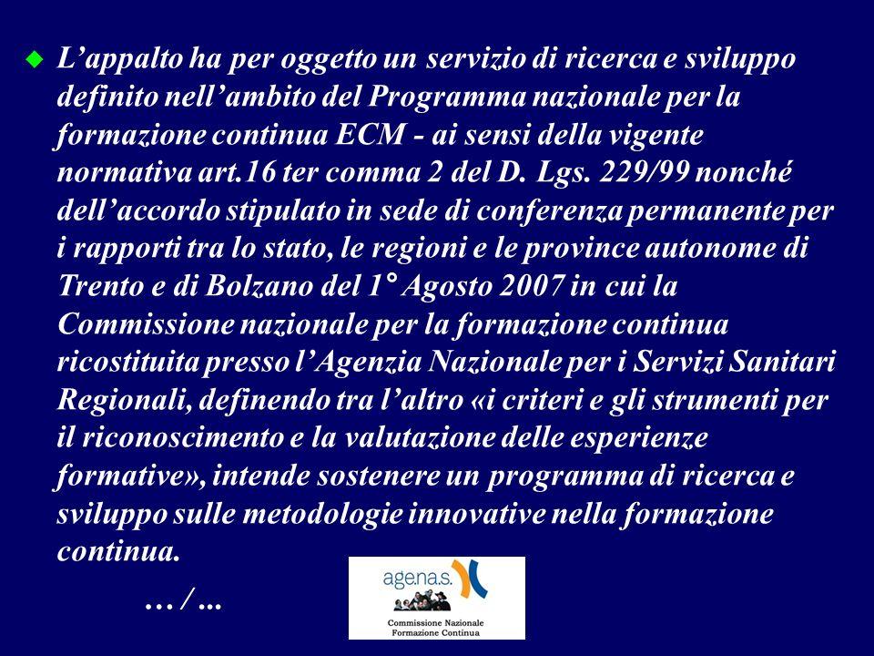 Lappalto ha per oggetto un servizio di ricerca e sviluppo definito nellambito del Programma nazionale per la formazione continua ECM - ai sensi della vigente normativa art.16 ter comma 2 del D.