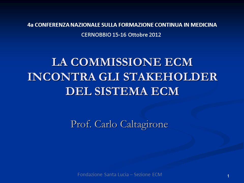 1 LA COMMISSIONE ECM INCONTRA GLI STAKEHOLDER DEL SISTEMA ECM Prof.