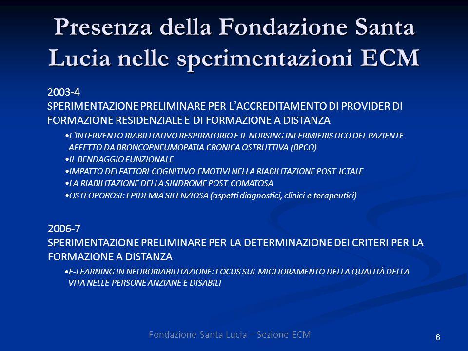 6 Presenza della Fondazione Santa Lucia nelle sperimentazioni ECM Fondazione Santa Lucia – Sezione ECM 2003-4 SPERIMENTAZIONE PRELIMINARE PER LACCREDITAMENTO DI PROVIDER DI FORMAZIONE RESIDENZIALE E DI FORMAZIONE A DISTANZA 2006-7 SPERIMENTAZIONE PRELIMINARE PER LA DETERMINAZIONE DEI CRITERI PER LA FORMAZIONE A DISTANZA E-LEARNING IN NEURORIABILITAZIONE: FOCUS SUL MIGLIORAMENTO DELLA QUALITÀ DELLA VITA NELLE PERSONE ANZIANE E DISABILI LINTERVENTO RIABILITATIVO RESPIRATORIO E IL NURSING INFERMIERISTICO DEL PAZIENTE AFFETTO DA BRONCOPNEUMOPATIA CRONICA OSTRUTTIVA (BPCO) IL BENDAGGIO FUNZIONALE IMPATTO DEI FATTORI COGNITIVO-EMOTIVI NELLA RIABILITAZIONE POST-ICTALE LA RIABILITAZIONE DELLA SINDROME POST-COMATOSA OSTEOPOROSI: EPIDEMIA SILENZIOSA (aspetti diagnostici, clinici e terapeutici)