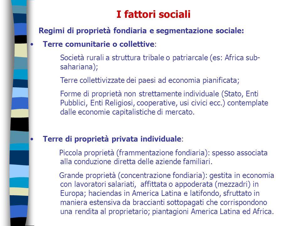 Regimi di proprietà fondiaria e segmentazione sociale: Terre comunitarie o collettive: Società rurali a struttura tribale o patriarcale (es: Africa su