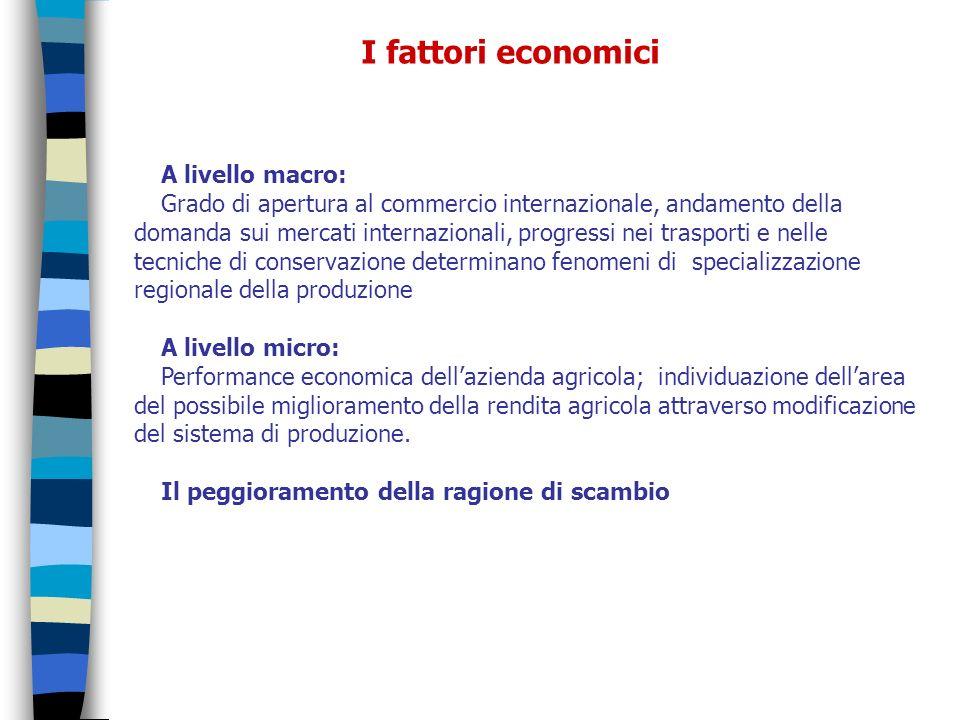 A livello macro: Grado di apertura al commercio internazionale, andamento della domanda sui mercati internazionali, progressi nei trasporti e nelle te