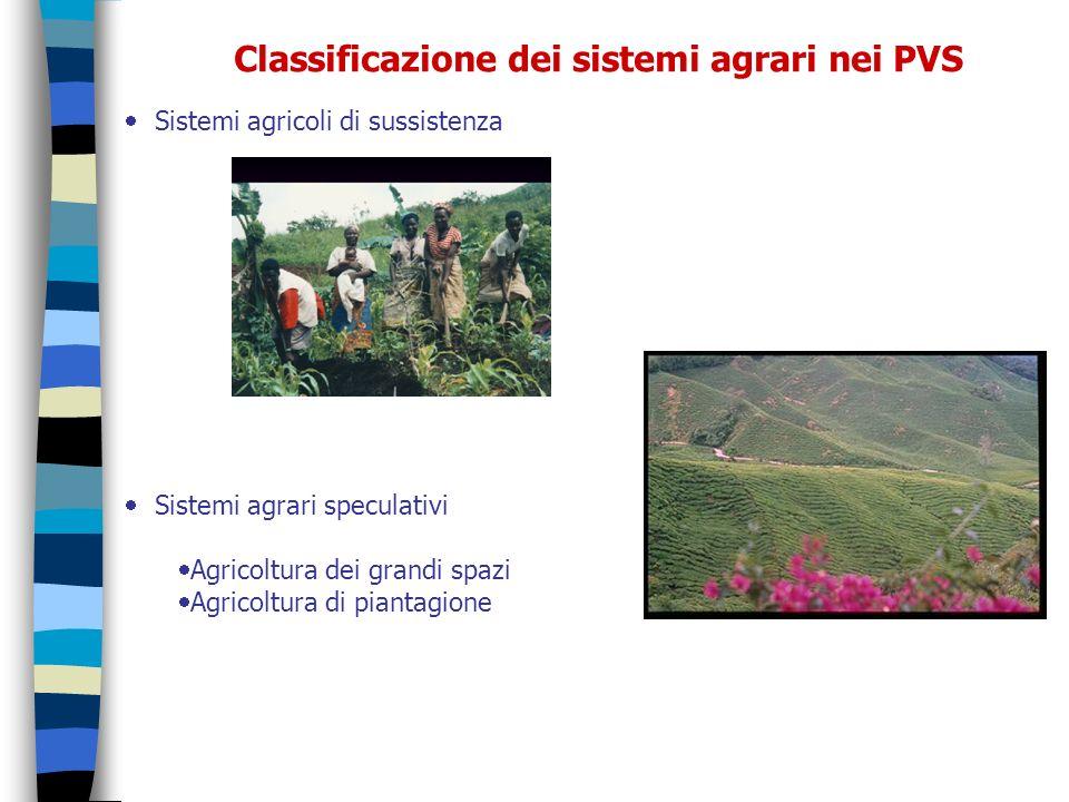 Classificazione dei sistemi agrari nei PVS Sistemi agricoli di sussistenza Sistemi agrari speculativi Agricoltura dei grandi spazi Agricoltura di pian