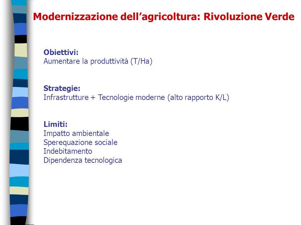Modernizzazione dellagricoltura: Rivoluzione Verde Obiettivi: Aumentare la produttività (T/Ha) Strategie: Infrastrutture + Tecnologie moderne (alto ra