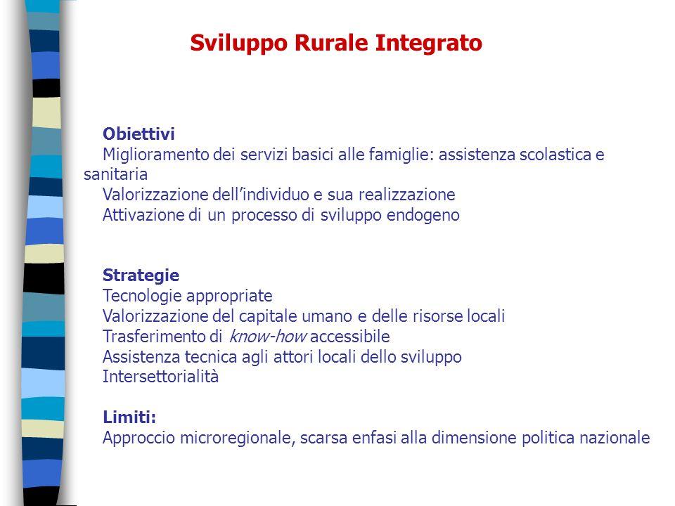 Sviluppo Rurale Integrato Obiettivi Miglioramento dei servizi basici alle famiglie: assistenza scolastica e sanitaria Valorizzazione dellindividuo e s