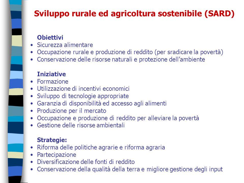 Sviluppo rurale ed agricoltura sostenibile (SARD) Obiettivi Sicurezza alimentare Occupazione rurale e produzione di reddito (per sradicare la povertà)
