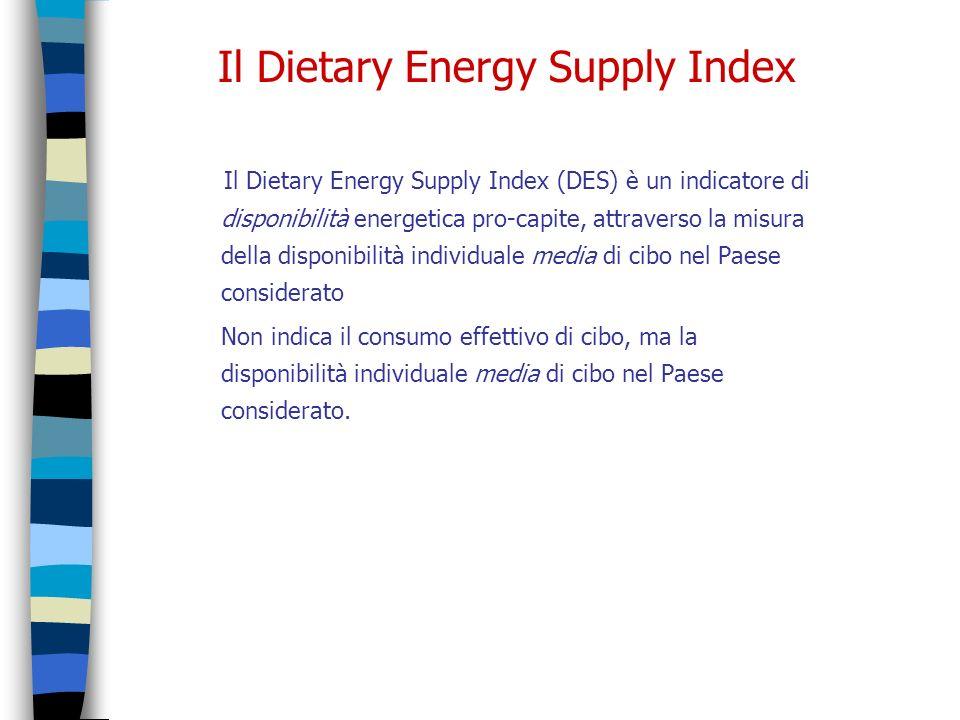 Il Dietary Energy Supply Index Il Dietary Energy Supply Index (DES) è un indicatore di disponibilità energetica pro-capite, attraverso la misura della