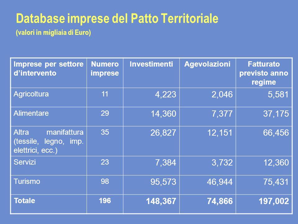 Database imprese del Patto Territoriale (valori in migliaia di Euro) Imprese per settore dintervento Numero imprese InvestimentiAgevolazioniFatturato previsto anno regime Agricoltura11 4,2232,0465,581 Alimentare29 14,3607,37737,175 Altra manifattura (tessile, legno, imp.