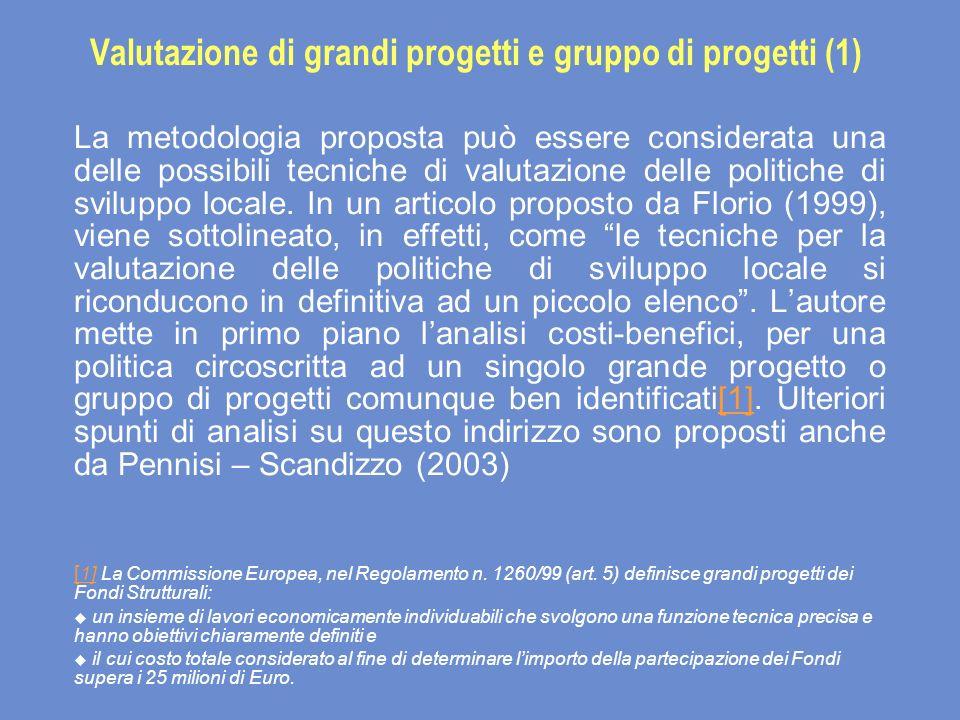 Valutazione di grandi progetti e gruppo di progetti (1) La metodologia proposta può essere considerata una delle possibili tecniche di valutazione delle politiche di sviluppo locale.