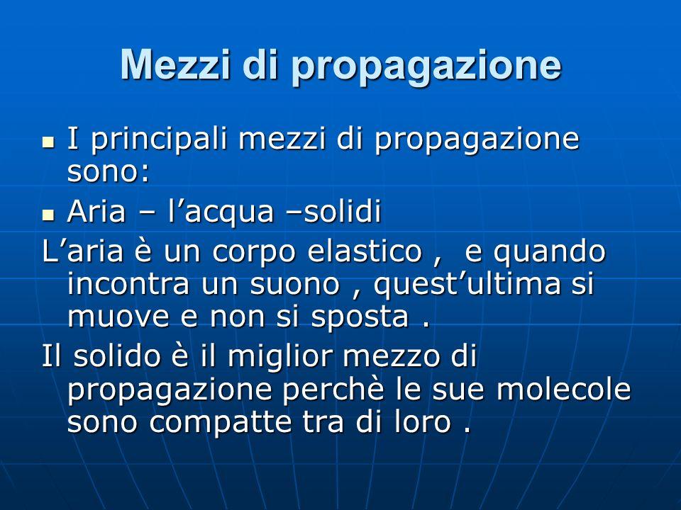 Mezzi di propagazione I principali mezzi di propagazione sono: I principali mezzi di propagazione sono: Aria – lacqua –solidi Aria – lacqua –solidi La