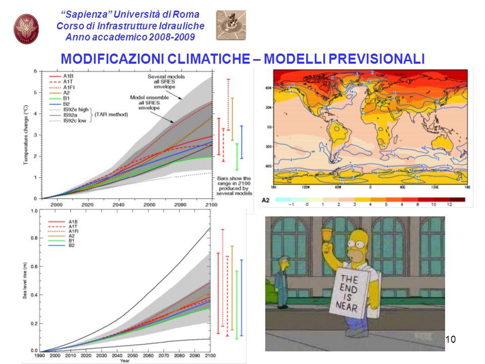 10 Sapienza Università di Roma Corso di Infrastrutture Idrauliche Anno accademico 2008-2009 MODIFICAZIONI CLIMATICHE – MODELLI PREVISIONALI