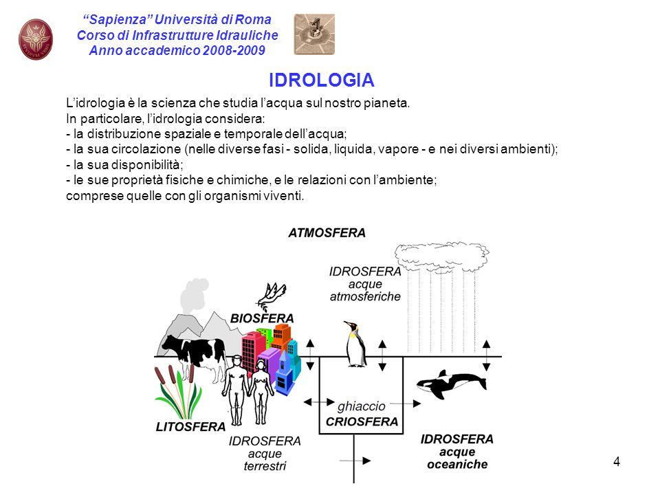 4 Sapienza Università di Roma Corso di Infrastrutture Idrauliche Anno accademico 2008-2009 IDROLOGIA Lidrologia è la scienza che studia lacqua sul nos
