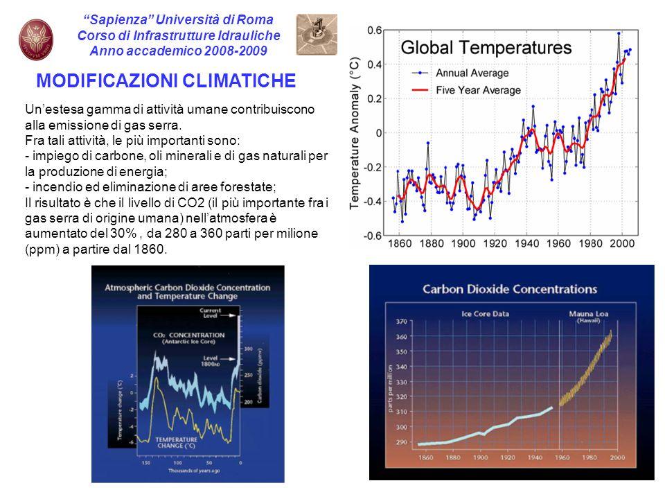 9 Sapienza Università di Roma Corso di Infrastrutture Idrauliche Anno accademico 2008-2009 MODIFICAZIONI CLIMATICHE Unestesa gamma di attività umane c