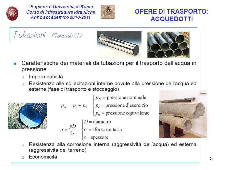 4 Sapienza Università di Roma Corso di Infrastrutture Idrauliche Anno accademico 2010-2011 OPERE DI TRASPORTO: ACQUEDOTTI