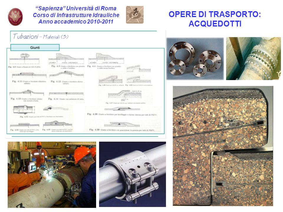 6 Sapienza Università di Roma Corso di Infrastrutture Idrauliche Anno accademico 2010-2011 OPERE DI TRASPORTO: ACQUEDOTTI