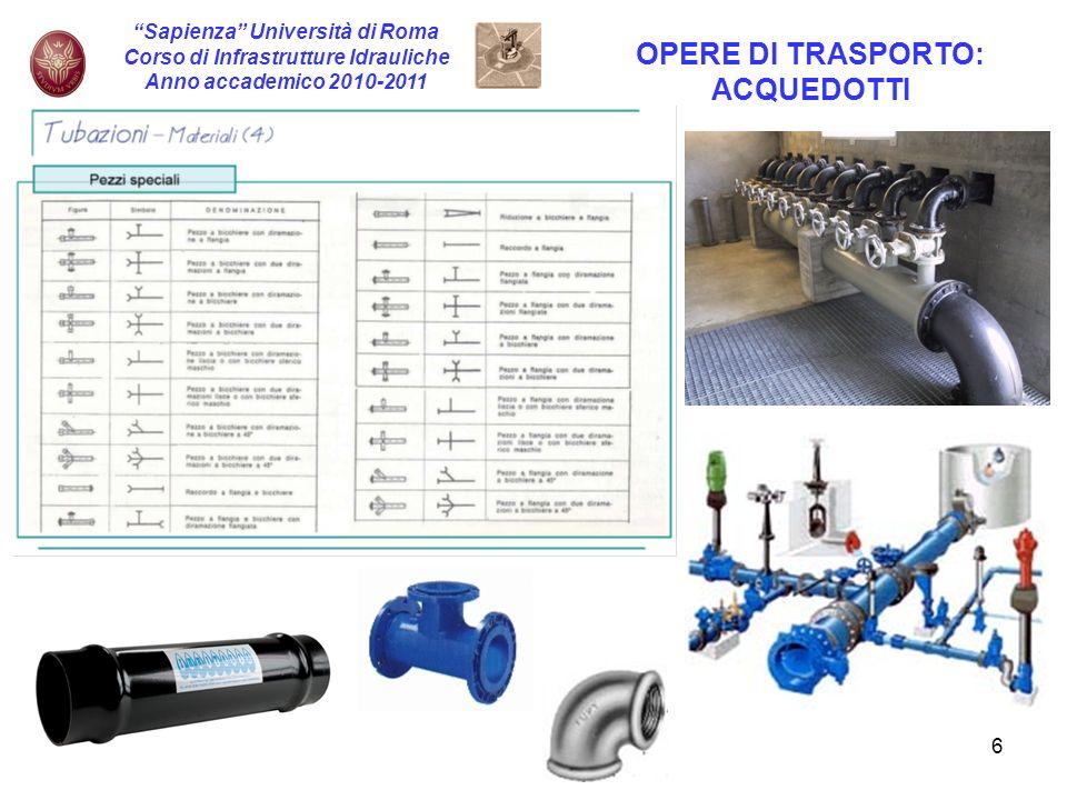 7 Sapienza Università di Roma Corso di Infrastrutture Idrauliche Anno accademico 2010-2011 OPERE DI TRASPORTO: ACQUEDOTTI