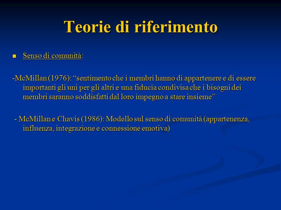 Teorie di riferimento Senso di comunità: Senso di comunità: -McMillan (1976): sentimento che i membri hanno di appartenere e di essere importanti gli