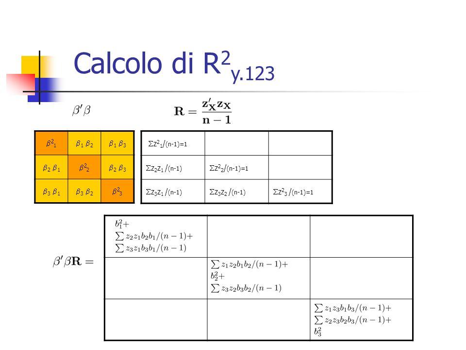 1 1 2 1 3 2 1 2 2 3 3 1 3 2 3 z 2 1 / (n-1)=1 z 2 z 1 / (n-1) z 2 2 / (n-1)=1 z 3 z 1 / (n-1) z 3 z 2 / (n-1) z 2 3 / (n-1)=1 Calcolo di R 2 y.123