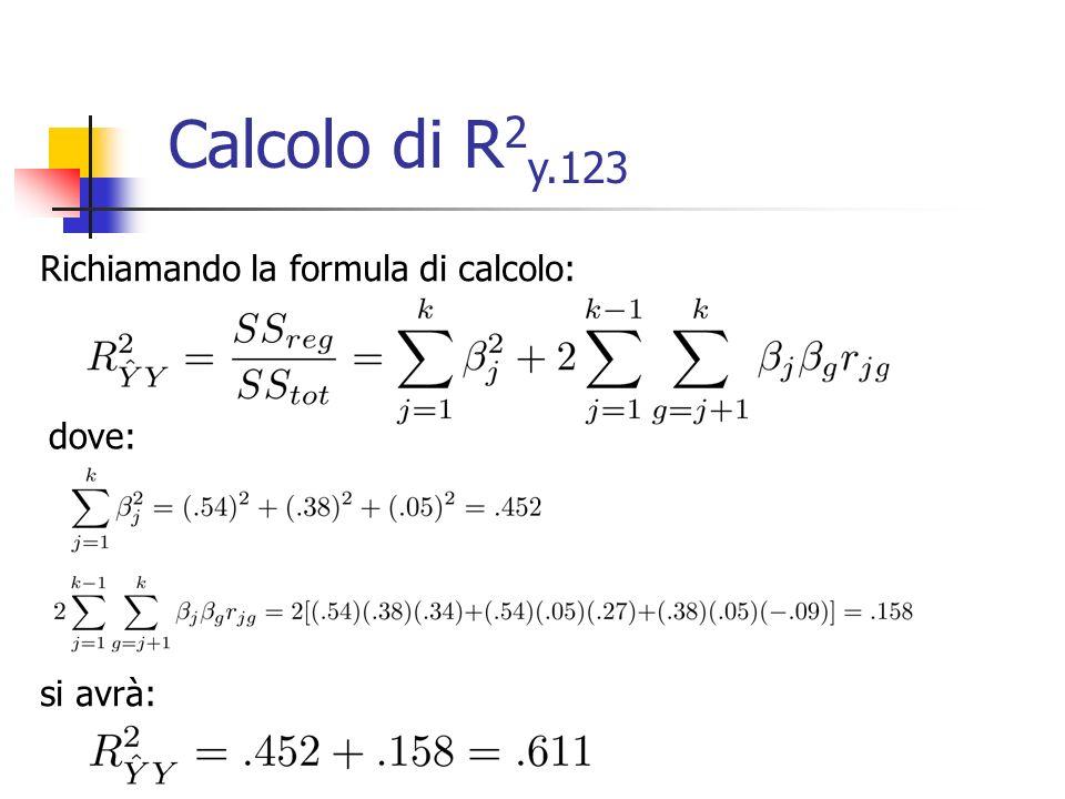 Richiamando la formula di calcolo: dove: si avrà: Calcolo di R 2 y.123