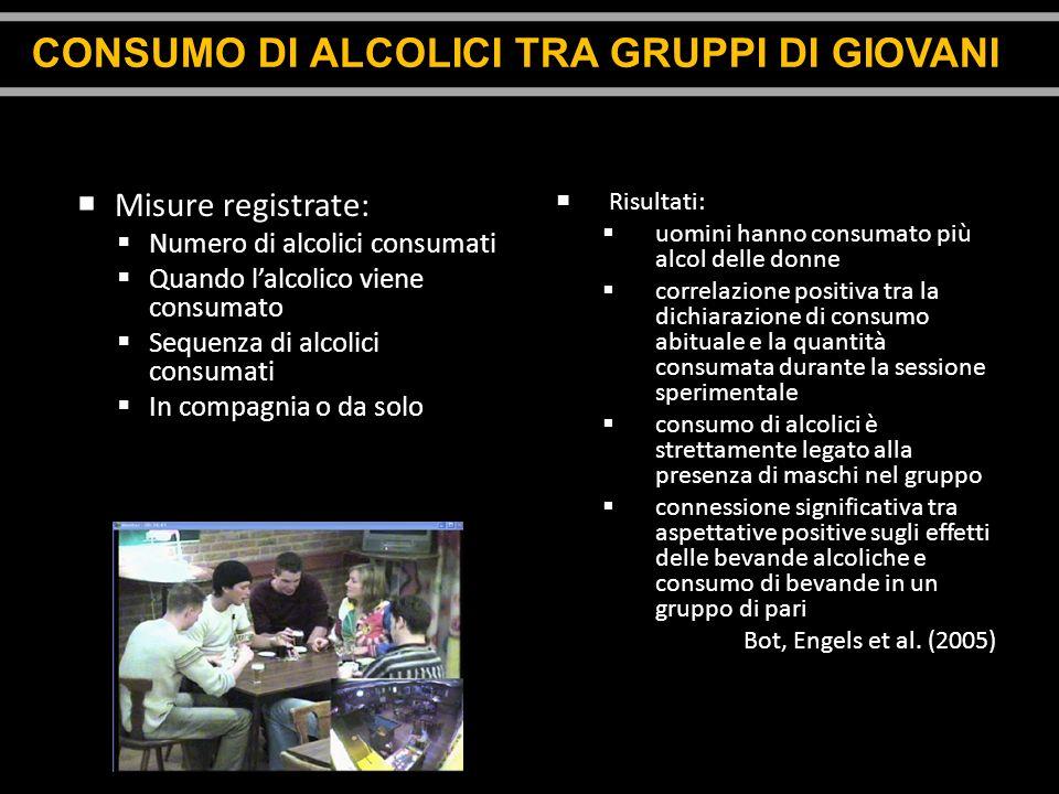 Misure registrate: Numero di alcolici consumati Quando lalcolico viene consumato Sequenza di alcolici consumati In compagnia o da solo Risultati: uomi