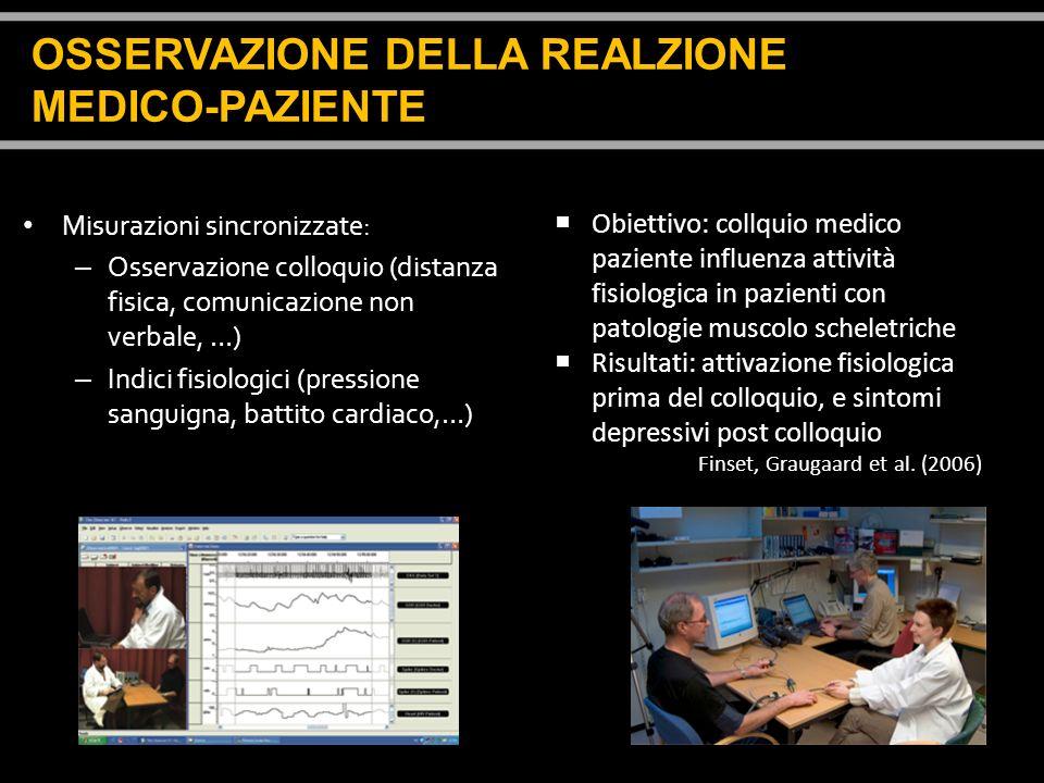 Misurazioni sincronizzate: – Osservazione colloquio (distanza fisica, comunicazione non verbale, …) – Indici fisiologici (pressione sanguigna, battito