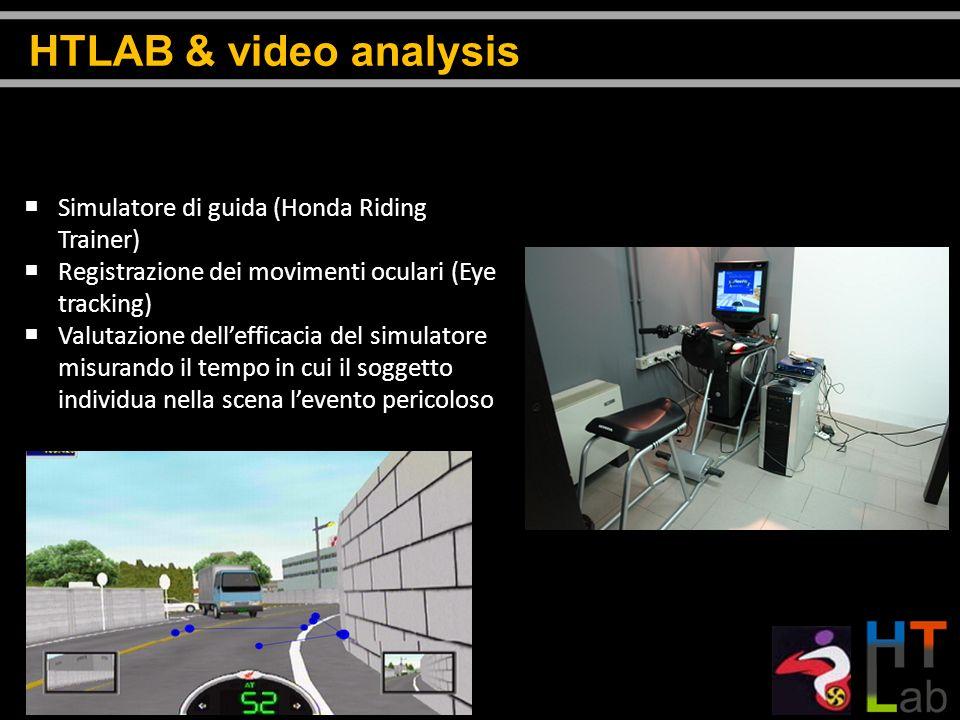 Simulatore di guida (Honda Riding Trainer) Registrazione dei movimenti oculari (Eye tracking) Valutazione dellefficacia del simulatore misurando il te