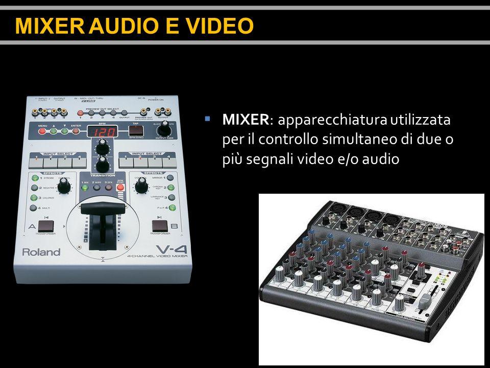 MIXER: apparecchiatura utilizzata per il controllo simultaneo di due o più segnali video e/o audio MIXER AUDIO E VIDEO