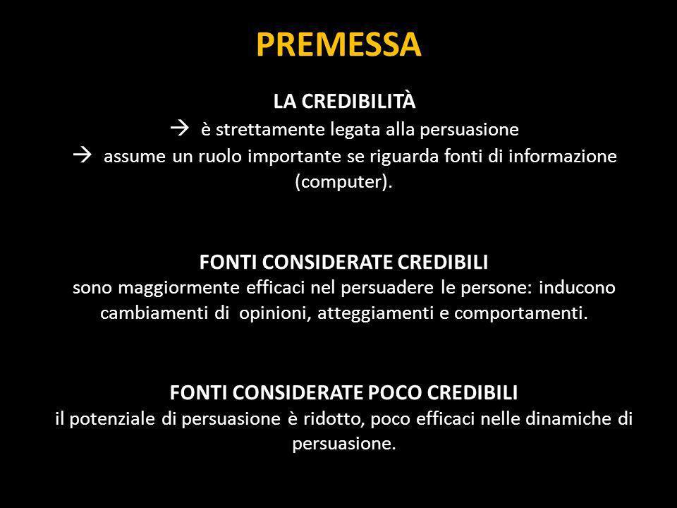 PREMESSA LA CREDIBILITÀ è strettamente legata alla persuasione assume un ruolo importante se riguarda fonti di informazione (computer). FONTI CONSIDER