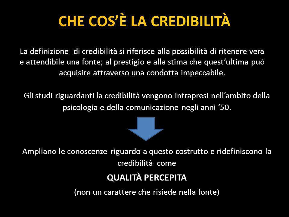 CHE COSÈ LA CREDIBILITÀ La definizione di credibilità si riferisce alla possibilità di ritenere vera e attendibile una fonte; al prestigio e alla stim