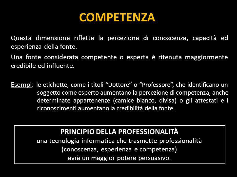 COMBINAZIONI DELLE DUE DIMENSIONI Esempio: un professionista può essere percepito come competente per il suo ruolo ma se veniamo a sapere qualcosa di sconveniente su di lui verrà meno la percezione di affidabilità.