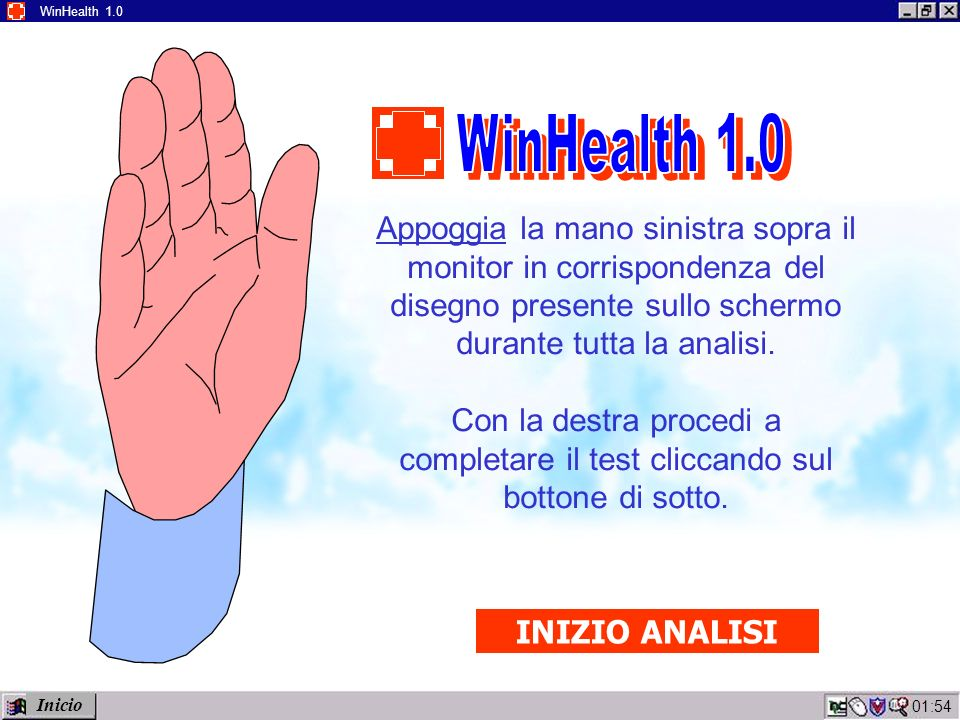 01:56 WinHealth 1.0 Appoggia la mano sinistra sopra il monitor in corrispondenza del disegno presente sullo schermo durante tutta la analisi.