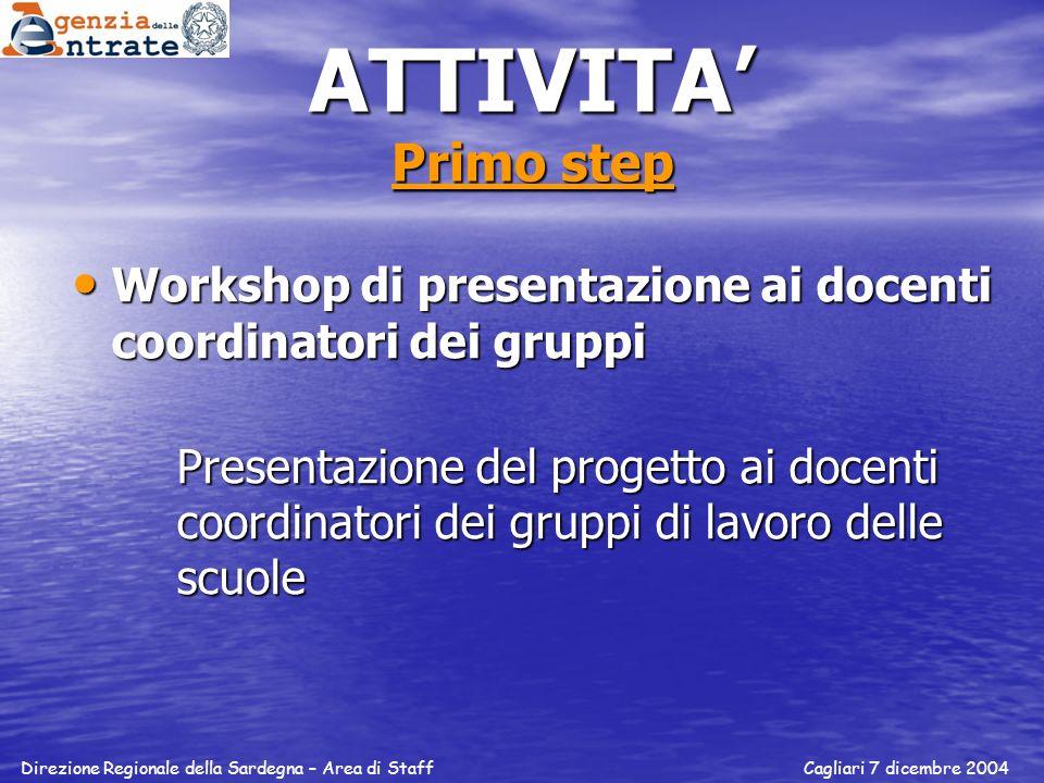 ATTIVITA Primo step Workshop di presentazione ai docenti coordinatori dei gruppi Workshop di presentazione ai docenti coordinatori dei gruppi Presenta