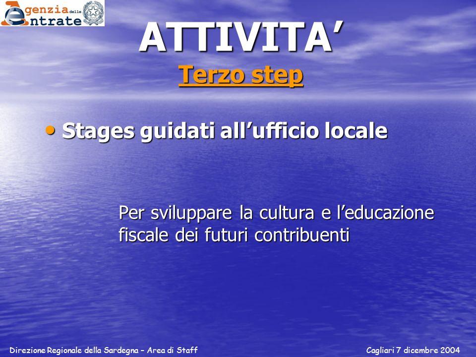 ATTIVITA Terzo step Stages guidati allufficio locale Stages guidati allufficio locale Per sviluppare la cultura e leducazione fiscale dei futuri contr