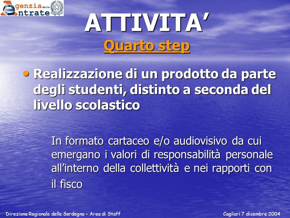 ATTIVITA Quarto step Realizzazione di un prodotto da parte degli studenti, distinto a seconda del livello scolastico Realizzazione di un prodotto da p
