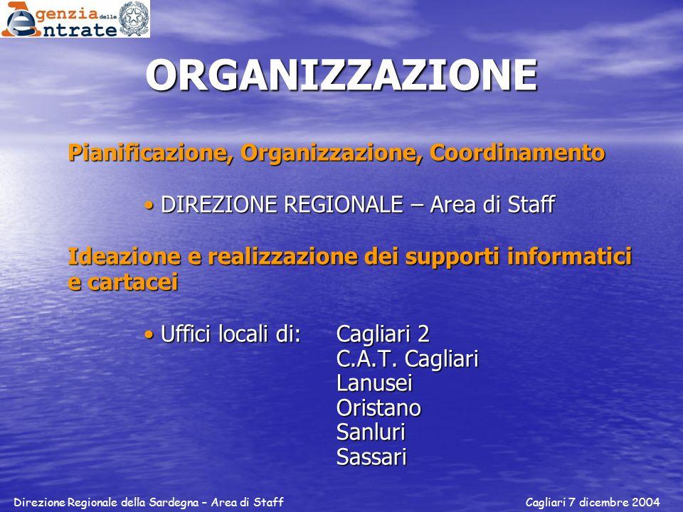 ORGANIZZAZIONE Pianificazione, Organizzazione, Coordinamento DIREZIONE REGIONALE – Area di StaffDIREZIONE REGIONALE – Area di Staff Ideazione e realiz