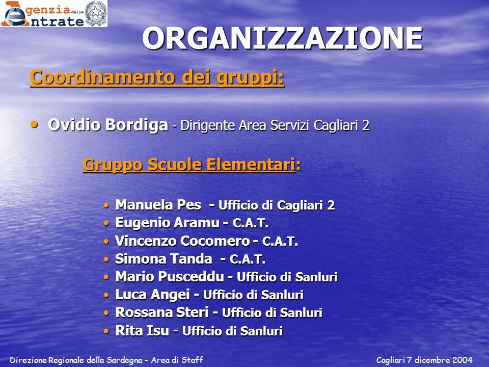 ORGANIZZAZIONE Coordinamento dei gruppi: Ovidio Bordiga - Dirigente Area Servizi Cagliari 2 Ovidio Bordiga - Dirigente Area Servizi Cagliari 2 Gruppo