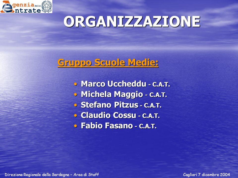ORGANIZZAZIONE Gruppo Scuole Medie: Marco Uccheddu - C.A.T.Marco Uccheddu - C.A.T. Michela Maggio - C.A.T.Michela Maggio - C.A.T. Stefano Pitzus - C.A