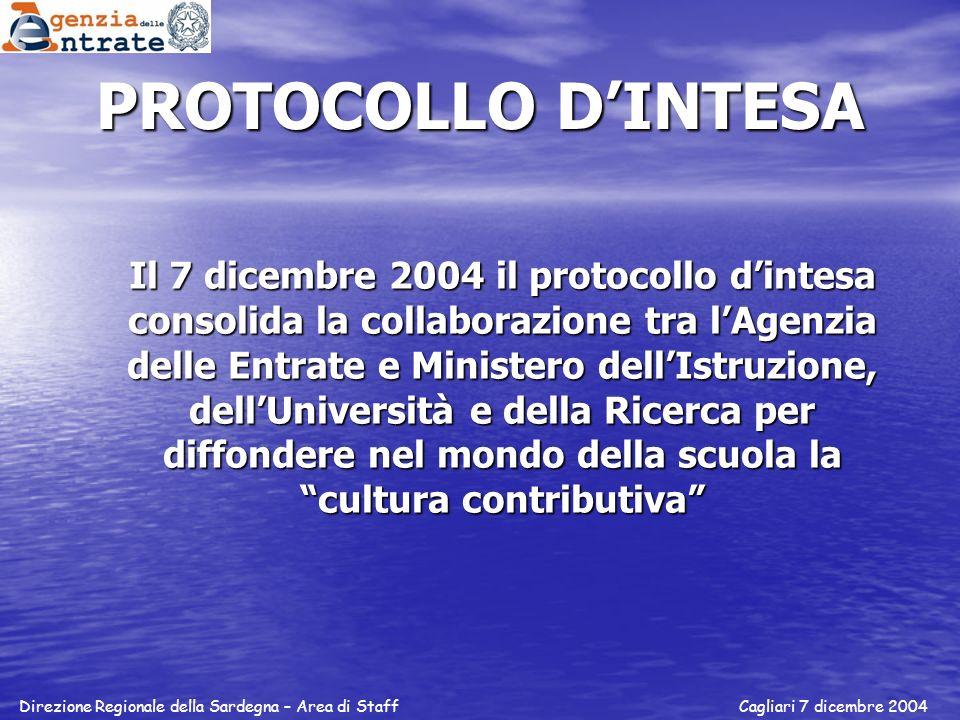 PROTOCOLLO DINTESA Il 7 dicembre 2004 il protocollo dintesa consolida la collaborazione tra lAgenzia delle Entrate e Ministero dellIstruzione, dellUni