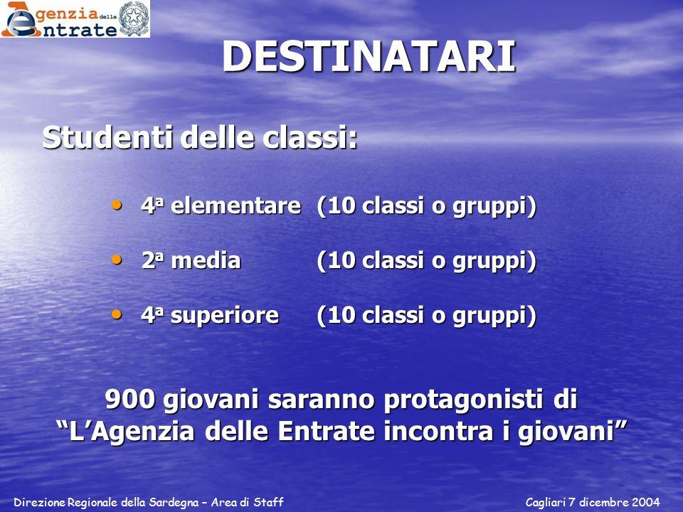 DESTINATARI Studenti delle classi: 4 a elementare (10 classi o gruppi) 4 a elementare (10 classi o gruppi) 2 a media (10 classi o gruppi) 2 a media (1