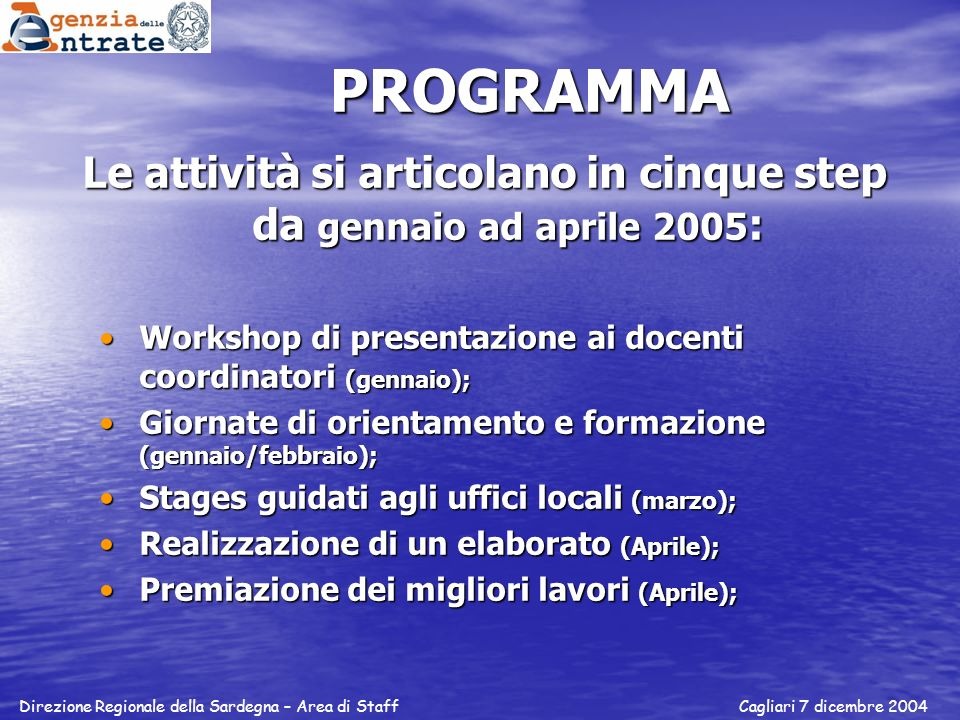 PROGRAMMA Le attività si articolano in cinque step da gennaio ad aprile 2005 : Workshop di presentazione ai docenti coordinatori (gennaio);Workshop di