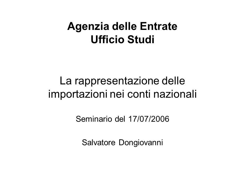Agenzia delle Entrate Ufficio Studi La rappresentazione delle importazioni nei conti nazionali Seminario del 17/07/2006 Salvatore Dongiovanni