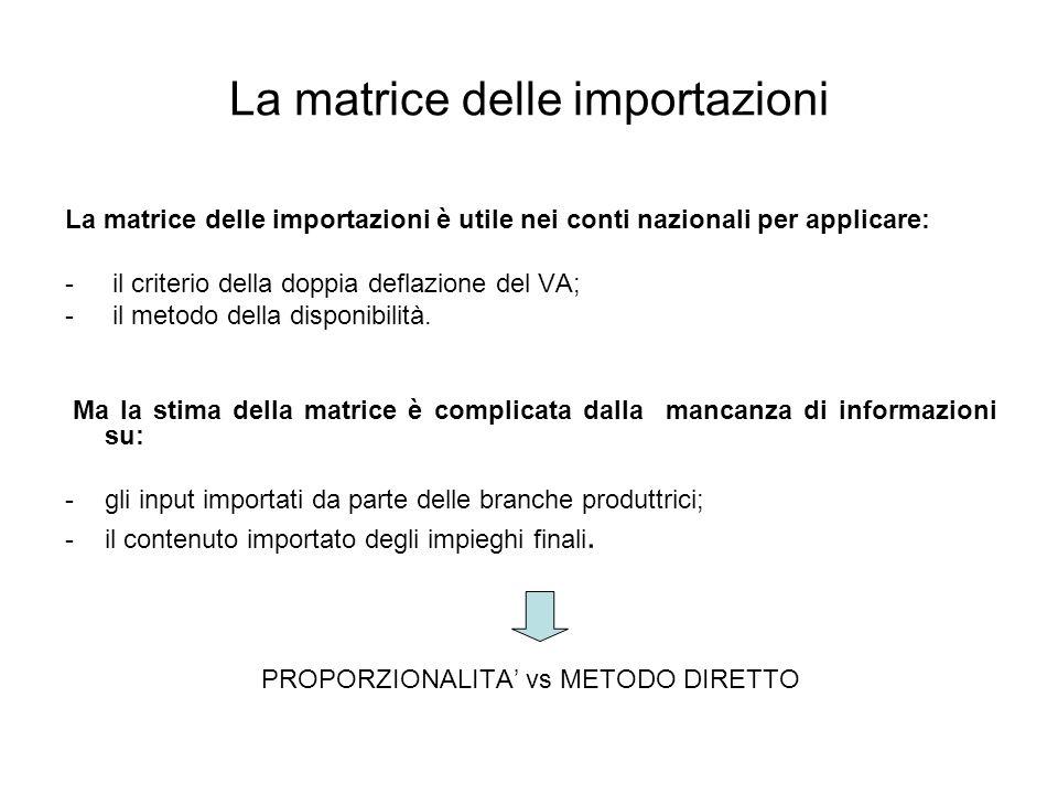 La matrice delle importazioni La matrice delle importazioni è utile nei conti nazionali per applicare: - il criterio della doppia deflazione del VA; -