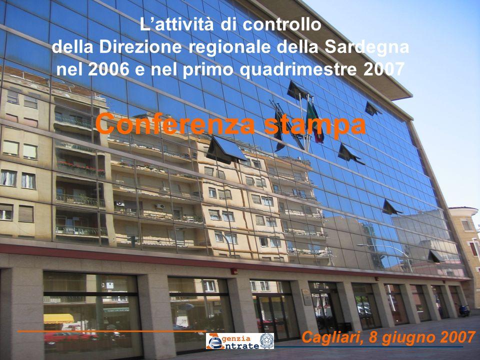Cagliari, 8 giugno 2007 Lattività di controllo della Direzione regionale della Sardegna nel 2006 e nel primo quadrimestre 2007 Conferenza stampa